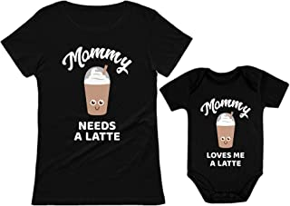 Mommy Needs a Coffee & Latte Matching Outfit for Mother and Baby Daughter/Son