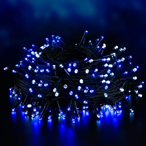 Elegear 40M 300LEDs Luci Natale Esterno IP44 Impermeabile Luci Natale Batteria con 8 Modalità Illuminazione, Decorazione per Natale, Giardino, Patio, Albero di Natale - Blu Bianco