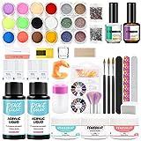 PEACECOLOR Acrílicos para Uñas Set 3 Colores(Transparente, Rosa, Blanco) 2PCS Monómero de 30ml Nail Prep Dehydrator Primer para Manicura Kit