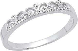 Dazzlingrock Collection 0.07 Carat (ctw) Round White Diamond Ladies Crown Anniversary Wedding Band, 10K Gold