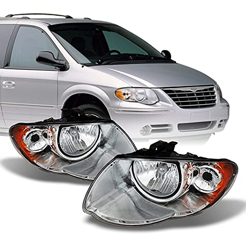AKKON - For 2005-2007 Chrysler Town & Country OE Style Headlights Housing Crystal Assemblies