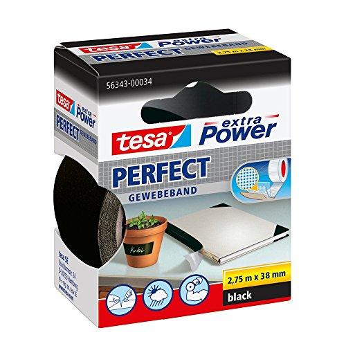 tesa Extra Power Perfect - Cinta de Reparación Reforzada en Tela para Confeccionar, Reparar, Fijar, Reforzar y Etiquetar - Negra - 2.75 m x 38 mm