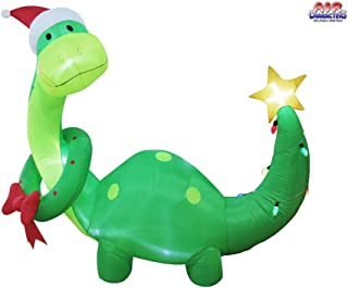 6' Air Blown Inflatable Dinosaur w/Wreath and Santa Hat Christmas Yard Decoration