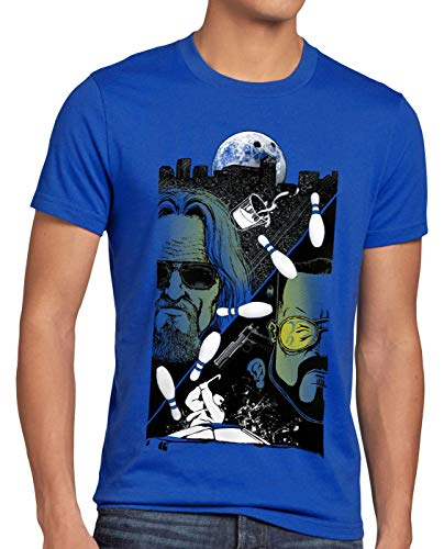 style3 The Dude T-Shirt Herren Lebowski Bowling Bowler Big Rude, Größe:4XL, Farbe:Blau