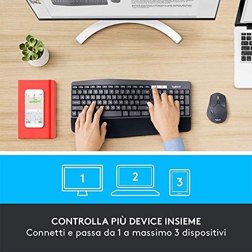 Logitech MK850 Kit Tastiera e Mouse Wireless Multidispositivo, Wireless e Bluetooth 2.4 GHz, 12 Tasti Programmabili, Durata Batteria di 3 Anni, PC/Mac, Layout Italiano QWERTY, Nero