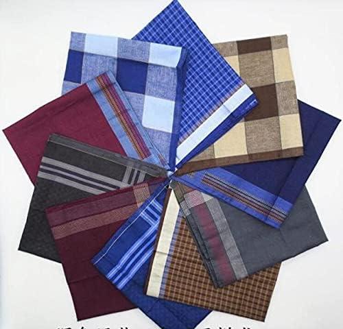 L2S 5pcs -10pcs Cotton Plaid Handkerchief Men Striped Towels Wedding Luxorious Handkerchief For Mens Pocket Square Mendil Zakdoek - 5PCS-41154