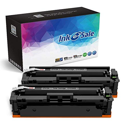 INK E-SALE Compatible Toner Cartridge Replacement for HP 2 Pack Black CF410A 410A for HP Color Laserjet Pro MFP M477fdw M477fdn M477fnw M452dn M452dw M452nw M377dw 410X CF410X Toner Printer (2PK)