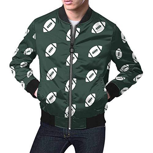 INTERESTPRINT Men's Zip Up Baseball Jacket Rugby Ball American Football Dark Green 4XL