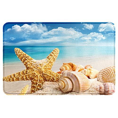 Sea Theme Bath Rug, Beach Starfish Shell Flannel Microfiber Bath Mats, Soft Memory Foam Non Slip Bathroom Rugs, Bathroom Decorations Bath Mat, for Kitchen Bedroom Indoor 15.8' X 23.7'