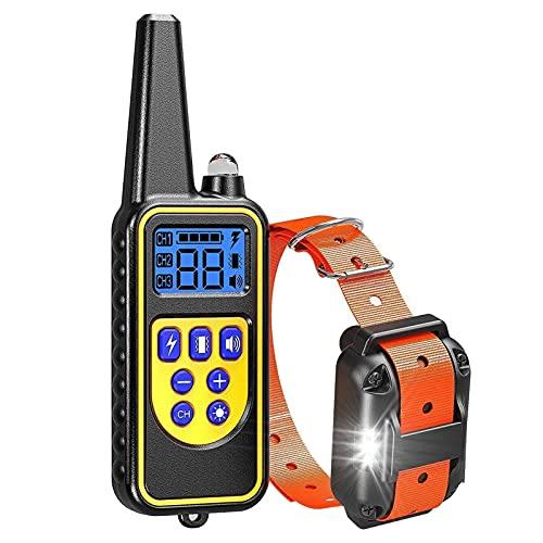 IP67 Collier de Dressage Imperméable Chien avec Avertisseur Sonore Les Vibrations et LED Mode D'entraînement Légère Formation de Chien de Vibration Réglable Collier Animal Col-Orange
