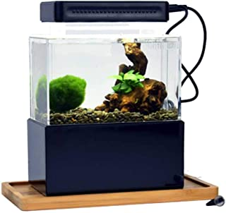 Hjd Peceras Mini plástico pecera portátil de Escritorio Aquaponic Acuario Betta Fish Bowl con LED y la Bomba de Aire silencioso for decoración Peceras (Color : A)