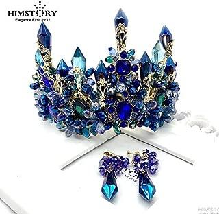 Stylish and Elegant Crown Princess Tiara Crown Crystal Party Crown Big Hair Bands Performance Hair Accessories Birthday Senior Royal Blue Noble Treasure wsd