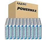 Powermax 100-Count AAA Batteries, Ultra Long Lasting Alkaline Battery, 10-Year Shelf Life, Recloseable Packaging