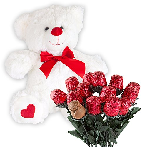Valentines Day Gift Basket | Teddy Bear Plush 12 Inches & A dozen Belgian Milk Chocolate Roses | For...
