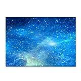 DRTWE Alfombra,Teppich,Simple Blue Starry Sky Printed Velvet Area Rug For Living Room Large Size Anti-Skid Fluffy Shaggy Rug Bedroom Doorway Carpet Nursery Play Pad Carpet Runner,50 * 80Cm