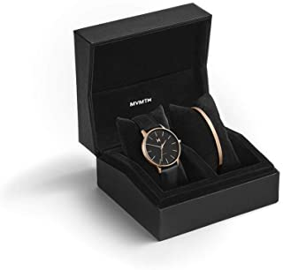 Boulevard Watch Gift Set | 38 MM Women's Analog Watch | Black Watch & Rose Gold Cuff