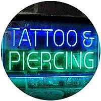 Tattoo Piercing Get Inked Shop Open Dual Color LED看板 ネオンプレート サイン 標識 緑色 + 青色 600 x 400mm st6s64-i2484-gb