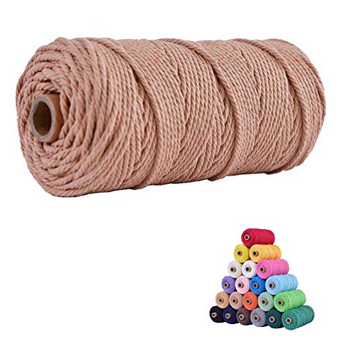 2mm Cotton Macrame Cord Handmade Decorations Softer Natural Color for Handmade Plant Hanger Wall Hanging and DIY Craft Knitting 200m