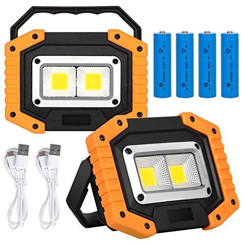KAMEUN 2 Pack Luz de Trabajo, 30W USB Recargable Foco LED Portátil, 2000 lm Portátil Luz de Inundación IP65 Impermeable con 4 * 18650 Batería para Camping, Pesca, Obras,Garaje (Blanco Cálido)