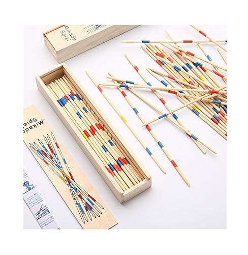 Detrade Traditionelles hölzernes Mikado-Spiel Pick Up Sticks mit Box, Multiplayer-Spiel Baby Educational Holzspiel Montessori, interaktives Spiel Lernspielzeug für Kinder Jungen Mädchen