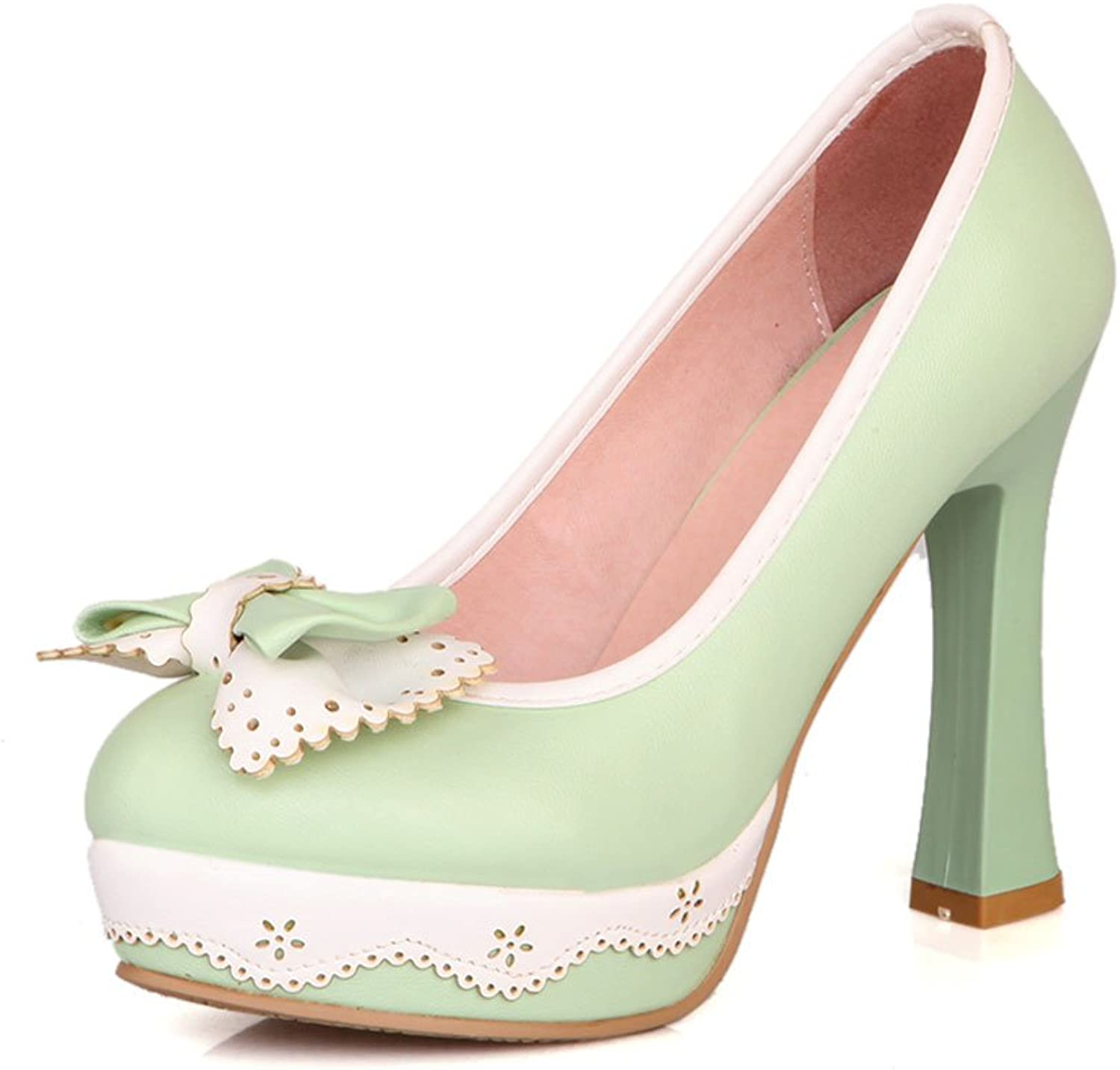 DoraTasia Fashionable Butterfly-Knot Slip on Thick Platform Hoof Heels Punched Pumps shoes Green