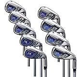 MAZEL Single Length Golf Club Irons Set 4-SW(9 Pieces),Right Handed (Steel, Stiff(S))