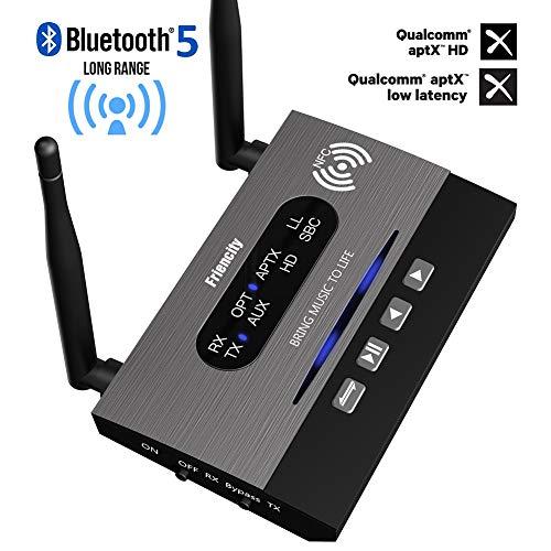 Friencity Bluetooth 5.0 Senderempfänger für TV, 3-in-1 kabelloser Bluetooth-Audio-Adapter für PC, Heim-Stereoanlage mit aptX HD, niedriger Latenz und Hi-Fi-Musik, mit optischem RCA 3,5 mm AUX-Stecker