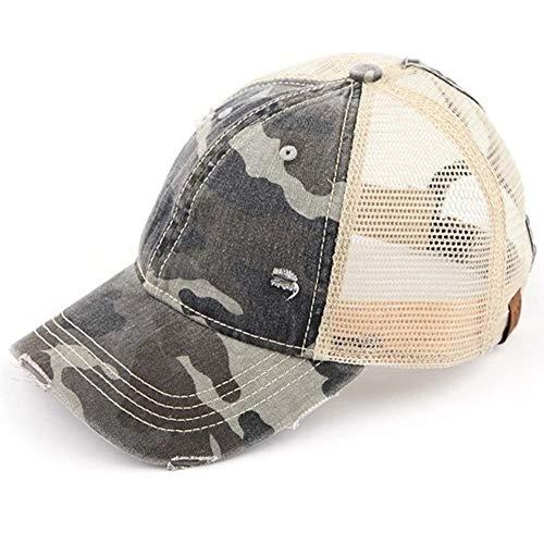 C.C Ponytail Messy Buns Trucker Ponycaps Plain Baseball Visor Cap Dad Hat (Camouflage Gray)