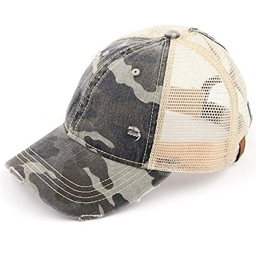 C.C Ponytail Messy Buns Trucker Ponycaps Plain Baseball Visor Cap Dad Hat (Camouflage Gray)