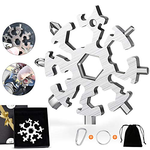 Snowflake Multitool 20 in 1 Multipack Screwdriver Set Star Tools and Gadgets for Men House Outdoor Stainless Steel Snowflake Multi Tool Keychain Cool Useful Item Gifts for Brother Guys Dad