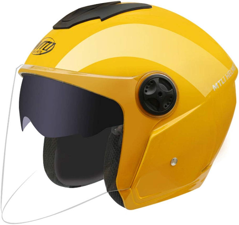 ZXW HelmetElectric Motorcycle Helmet Double Lens Men and Women Four Seasons Anti-Fog Helmet