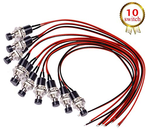 DONJON Momentanen Druck schalter,(mit 20AWG Draht) Mini Drücken Taster Druckknöpfe SPST ON/OFF für Auto,PC,Tischlampe(10Pcs)