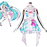 QQA Hatsune Miku Cosplay Costume Halloween Carnival Party Womens Racing Clay Motorcycle Suit,White,XL