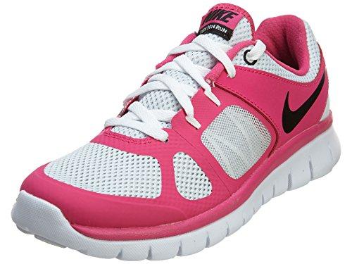 Nike Mädchen Flex 2014 RN (GS) Laufschuhe, Silber/Schwarz/Rosa/Weiß (Pure Platinum/Ht Pnk-Blk-weiß), 38 1/2 EU