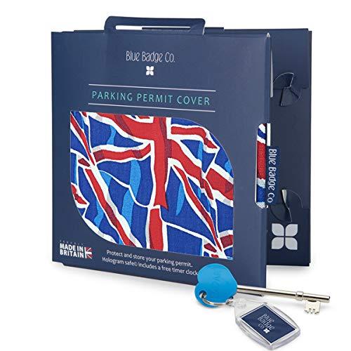 Blauwe Badge Bedrijf Blauw Gehandicapten Badge Portemonnee Union Jack met Radar Sleutel en Gratis Klok