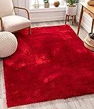 Shimmer Shag Bright Red Solid Plain Modern Luster Ultra...