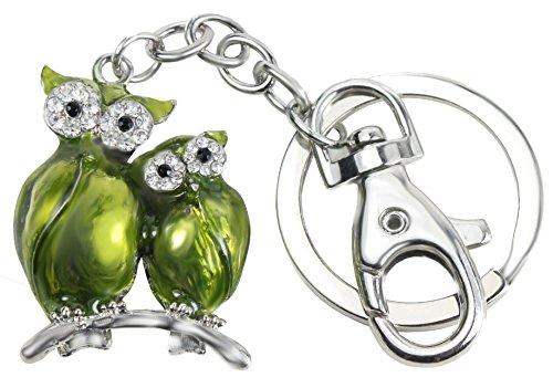 Quadiva - mujer - encanto de bolso con dos búho (color: plata/verde) adornado son cristales