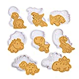 Olywee - Juego de cortadores de galletas de dinosaurio, 8 piezas, cortadores de galletas de...