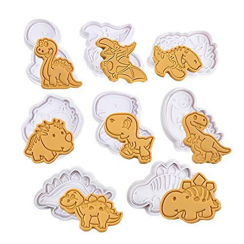 Olywee - Set di 8 stampi per biscotti a forma di dinosauro, per biscotti, cioccolato, stampini in rilievo, in plastica 3D, decorazione per torte