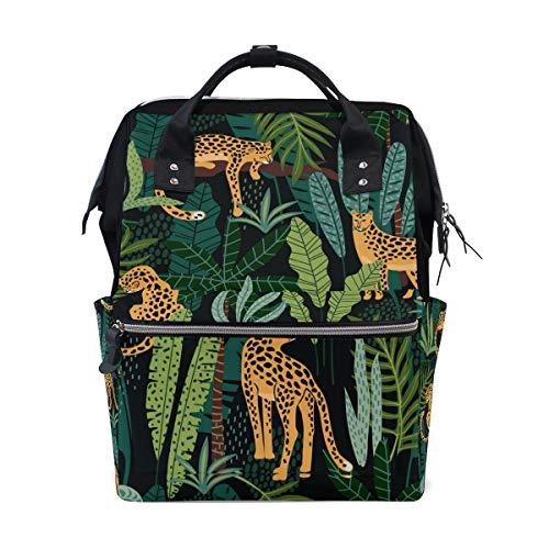 La Random Mochila grande com estampa de folhas tropicais de leopardo, bolsa de amamentação para viagens