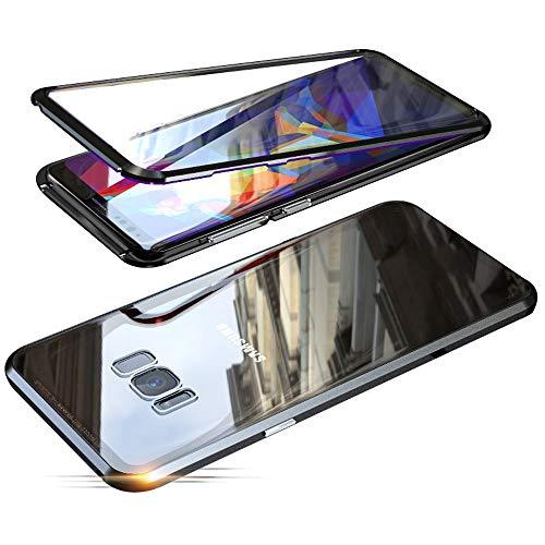 Jonwelsy Hülle für Samsung Galaxy S8 Plus, Magnetische Adsorption Metall Stoßstange Flip Cover mit 360 Grad Schutz Doppelte Seiten Transparent Gehärtetes Glas Handyhülle für Samsung S8+ (Schwarz)