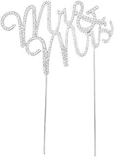 yueton Crystal Rhinestone Cake Topper Wedding Monogram Mr & Mrs Cake Decoration
