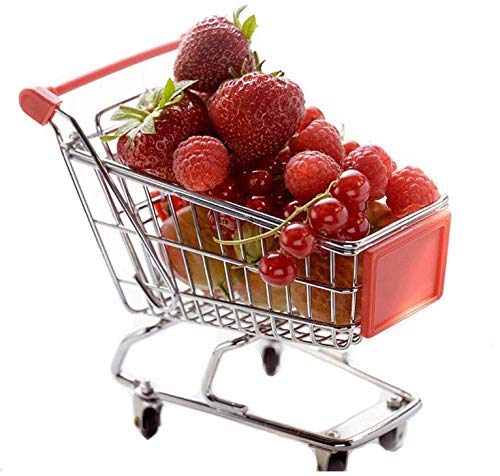 IDS Mini Supermarket Shopping Cart Trolley Utility Cart Mode Desk Storage Toy for Desktop Decoration Ornament, Color Random