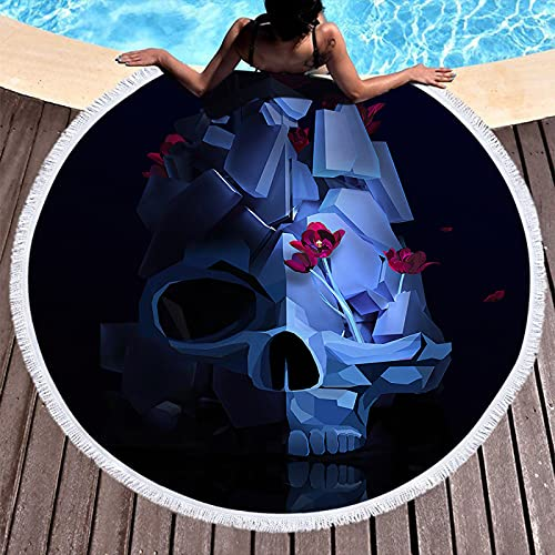 NTtie Toalla de Playa Toallas de baño Grandes de Secado rápido con Estera de Yoga Manta de Playa Impresión Redonda de la Serie Skull