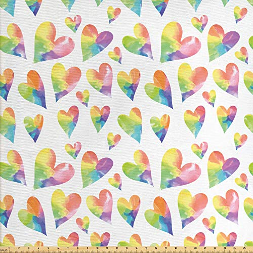 Lunarable Heart Fabric by The Yard, Watercolor Pastel Tones Shapes in Rainbow Colors Love Art Happy Valentines Day, Decorative Fabric for Upholstery and Home Accents, 1 Yard, Purple Pink