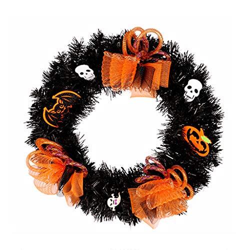Mcsibobce 30cm/40cm Halloween Wreath with Silk Flower Ghost Skull, Hanging Garland Ornaments Decoration for Wall Door Window