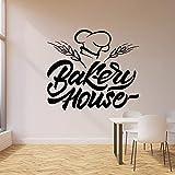 WERWN Calcomanía de Pared de panadería, Productos para Hornear, Horno, decoración de Interiores de Cocina, Pegatina de Vinilo para Ventana, Gorro de Chef de Trigo, Mural artístico