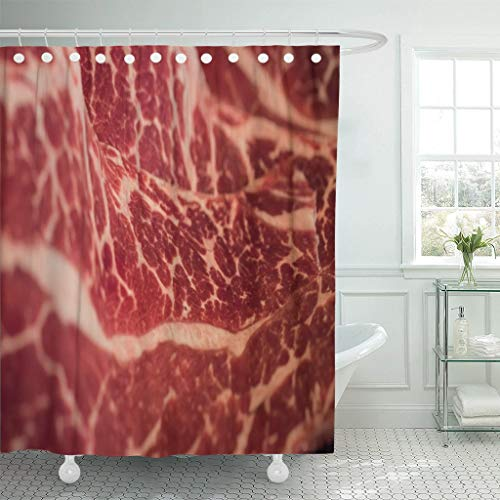 Eybfrre Duschvorhang Red Fat Marbling Japanese Beef Raw Fresh Meat Jerky Waterproof Polyester Fabric...