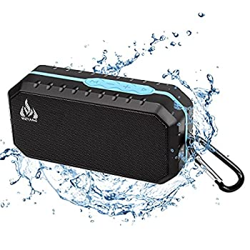Bluetooth Wireless Speakers Waterproof IPX5 with HD Enhanced Bass Outdoor Wireless Portable Phone Speakers Built-in Mic Support FM AUX TF Card USB for iPhone iPad Android Phones Computer Etc  Blue