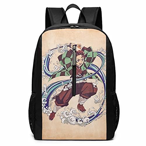 Anime Demon Slayer - Mochila para portátil de viaje, escuela, ciclismo, ocio, camping, bolsa grande, para niños, niñas, hombres y mujeres al aire libre de 17 pulgadas